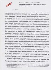 lettre au chef Etat Major de l'Armee Air