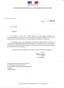 reponse du Ministre Agriculture 7aou15