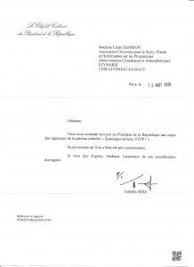 reponse de la Presidence de la Republique 12 aou15